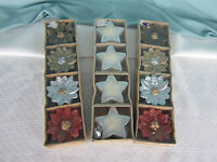 Holiday Candles 3 Sets 12 in all Small Tea Light Red Pointsettas Silver Stars