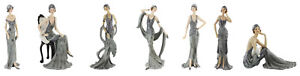 Art Deco Broadway Belles Lady Figurines Ornament Gift Silver Midnight Shimmer