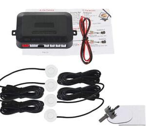 White Car 4 Parking Backup Sensors Kit LED Display Reverse Radar Sound Alert