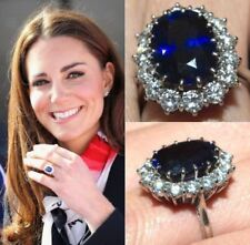 925 SS Blue Sapphire Oval Shaped Gemstone Studded Kate Middleton Jewelry Ring