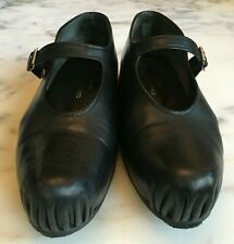 Rare COMME DES GARCONES Wmn's Blk Lthr Platform Mary Jane Shoes Japan 23/6-6.5