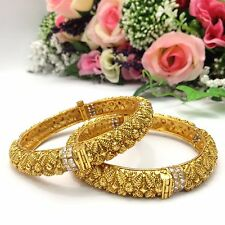 Indian Polki Bangles Size:2.8 Wedding Bridal Jewellery Ethnic Wear Gold Plated
