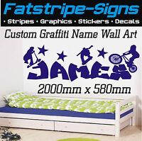 2m LARGE PERSONALISED WALL ART NAME GRAFFITI BOY BEDROOM GIRLS STICKER DECAL