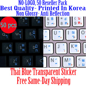 Thai Transparent KEYBD Sticker Blue letters Printed in Korea,Best Quality 50pcs