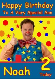 Personalised Birthday Card Mr Tumble any name/relation/age