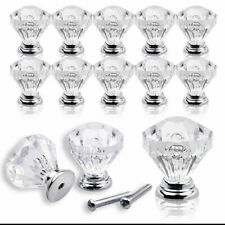 12Pcs Glass Diamond Crystal Dresser Knobs Drawer Pull Handle Cabinet Door Lots