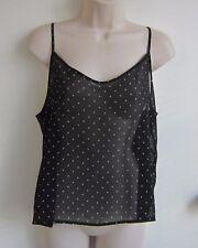 NWOT American Apparel Semi Sheer Polka Dots Black Chiffon Camisole Top ~ Size M