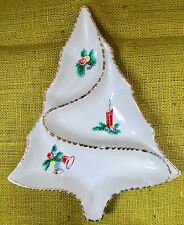 """Vintage Mid Century Christmas Tree Shape - Divided 12"""" Serving Dish Plate"""
