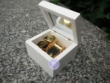 "Play ""ROMANCE DE L'AMOR"" Wooden Music Box With Sankyo Musical Movement (White)"