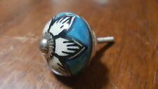 Hand-made Hand-painted Ceramic Drawer Knob - Blue with white flower - S44