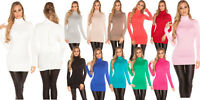 Maglione lungo maglia lupetto donna dolcevita manica lunga zip schiena nuovo
