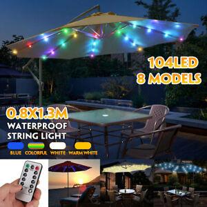 104 LED Umbrella Lamps Fairy Light Outdoor Garden Patio Parasol & Remote Control