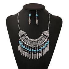 Vintage Retro Women Bohemian Crystal Chain Statement Choker Collar Bib Necklace