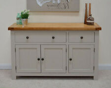 Swainswick Stone Grey Painted Oak Large Sideboard 3 Door Storage Cupboard