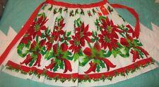 Vintage Pleated Poinsettias Christmas Apron - NWT