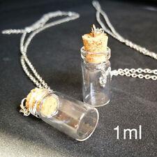 10* Mini Plastic Perfume Bottles Cork Potion Vials Charms Necklace Pendant DIY