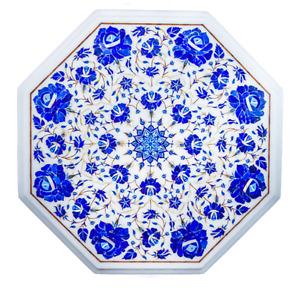 "18"" Marble side Table Top semi Precious stone lapis Inlay handmade art Work"