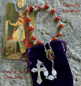 Saint Philomena Chaplet Handcrafted in Coral and White Jade Gemstones