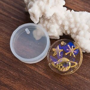 """2 RESIN Circle PENDANT MOLDS, Silicone Mold round circle 25mm (1"""") charm tol0851"""