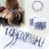 12pcs/set High Elastic Hair Bands Solid Bow Pearl Hair Ties For Women Girls Kids