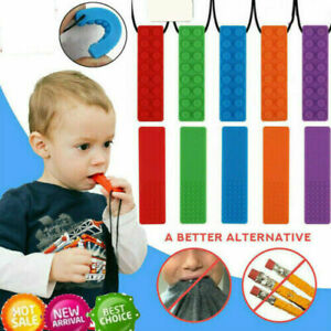 Kid Pencil Topper Chew Sensory Necklace Brick Autism Silicone Bite Teether Toy