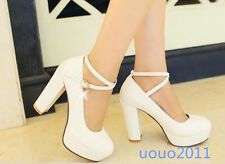 Women  Ankle Strap Mary Janes Platform Round Toe Chunky High Heel Shoes Plus Sz