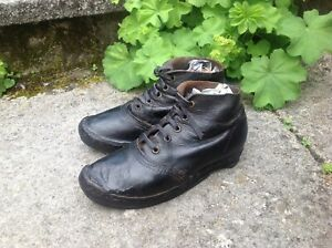Antique Welsh Clogs Shoes, Leather with Wood & Iron Soles, 1900s / Mining