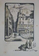 """Gravure sur bois de PINSON """"Rue Simon Lefranc"""" signée 86/160"""