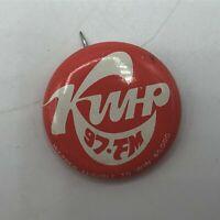 "Vintage KWHP 97FM Radio Station Contest 1"" Pin Pinback Button M4"