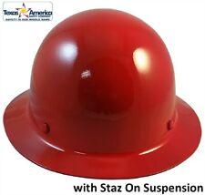 Msa Skullgard Full Brim Hard Hat With Staz On Suspension Red