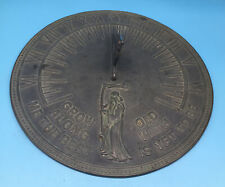 Vintage Flora & Fauna Brass Outdoor Garden Sundial Father Time Design 11-1/4�