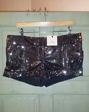 BNWT Womens Riverisland Sequin Party Shorts Hot Pants Grey Black 12 £30