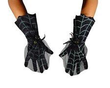 Gants noirs avec decor toile d'araignée avec araignée dodue [30252] halloween