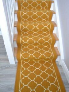 Very Long Narrow Gold Cream Stair Runner Rugs Thin Good Carpets For Stairs Cheap