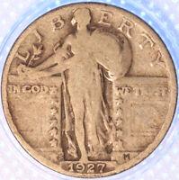 1927 S STANDING LIBERTY QUARTER, SEMI-KEY DATE, SHARP, ORIGINAL, EARLY DATE!