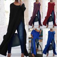 Women's Long Sleeve Casual High Split Crop Tops Long Maxi Shirt Blouse Dress TO
