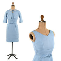 Vintage 50s Blue Rayon Sleeveless Crop Pin Up Hourglass Dress + Jacket Set XS