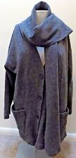 Wallis Small  Size 12 Grey Cardigan with Scarf Wrap Lagenlook lambswool Wool