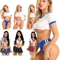 Sexy Women School Girl Uniform Fancy Dress Crop Top Costume Naughty Brief Outfit