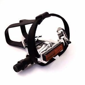 "Wellgo LU-209 Toe Clip Straps 9/16"" Pedal for Road MTB Fixed Bike"