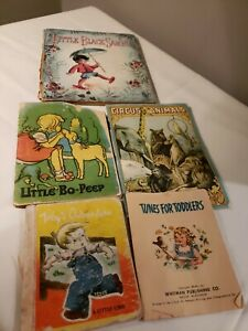 Lot of 5 Antique Vintage Children's Books: Tunes for Toddlers...1901 -1948 -1950