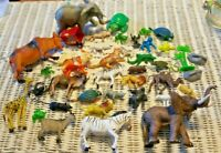 lot of 40 plastic toy animals wild zoo safari Wild life train Farm Scenery Vtg