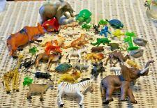 lot of 40 plastic toy animals wild zoo safari Wild life train Farm Scenery Vtg