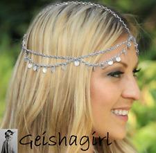 Grecian Coin Beautiful Silver Head Chain Headband Headpiece Hair Band UK Seller