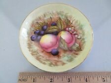 AYNSLEY ORCHARD FRUIT C746 PATTERN SMALL ROUND DISH, GOLD GILT SIGNED D. JONES