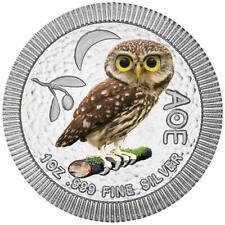 Niue - 2 Dollar 2021 - Eule von Athen - Steinkauz - in Farbe - 1 Oz Silber ST