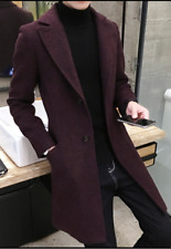 Men's Wool Blend Single-breasted Overcoat Slim Fit Long Trench Coat Lapel Jacket