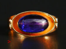 Vintage Ring solid 18K Yellow Gold  Bi-color Sapphire Ø 5.75 US/2.6gr