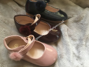 Spanish Girls patent side pompom shoes various sizes available BNWB Romany