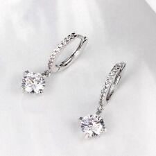 Silver CZ Leverback Dangle Drop Earrings